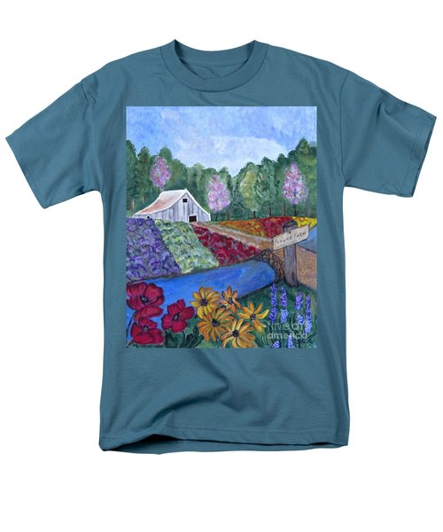 Men's T-Shirt  (Regular Fit) featuring the painting Flower Farm -poppies Daisies Lavender Whimsical Painting by Ella Kaye Dickey