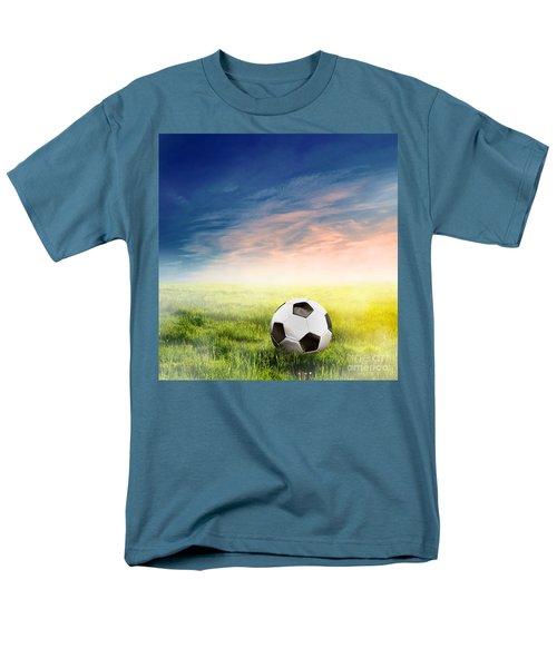 Football Soccer Ball On Green Grass Men's T-Shirt  (Regular Fit) by Michal Bednarek