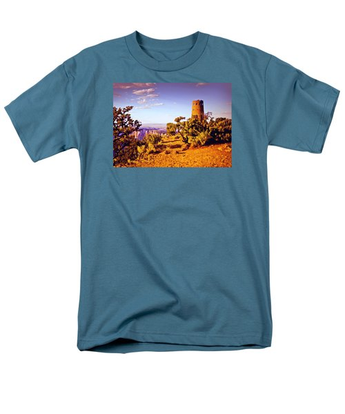 Men's T-Shirt  (Regular Fit) featuring the painting Grand Canyon National Park Golden Hour Watchtower by Bob and Nadine Johnston