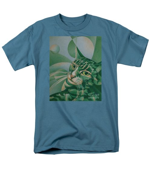 Men's T-Shirt  (Regular Fit) featuring the painting Green Feline Geometry by Pamela Clements