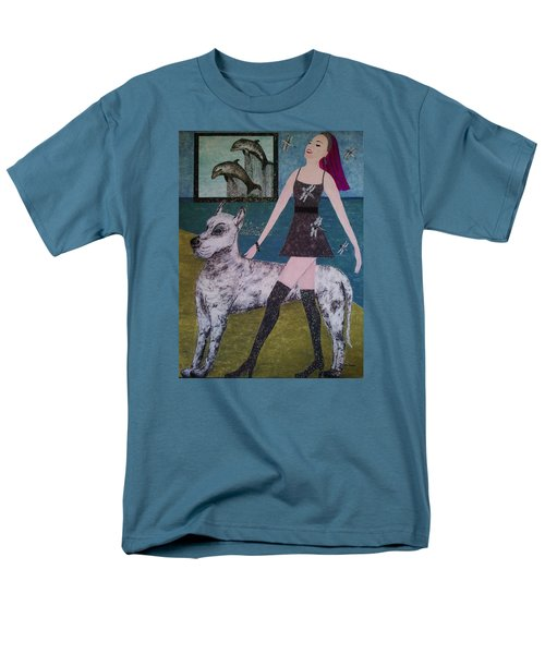 Men's T-Shirt  (Regular Fit) featuring the painting Happy Walk By Jasna Gopic by Jasna Gopic