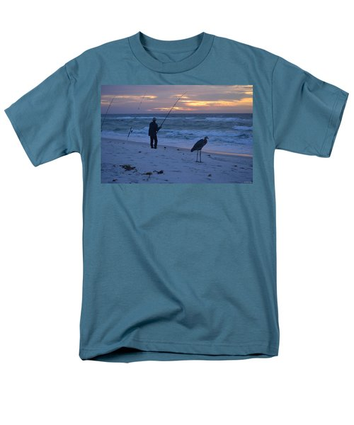 Men's T-Shirt  (Regular Fit) featuring the photograph Harry The Heron Fishing With Fisherman On Navarre Beach At Sunrise by Jeff at JSJ Photography