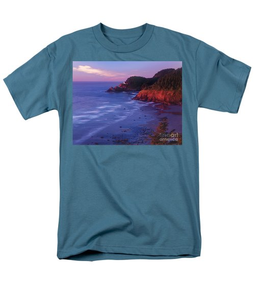 Men's T-Shirt  (Regular Fit) featuring the photograph Heceta Head Lighthouse At Sunset Oregon Coast by Dave Welling