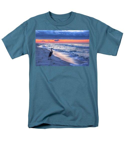 Heron On Mobile Beach Men's T-Shirt  (Regular Fit) by Michael Thomas