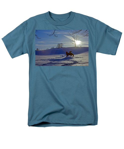 Horses In Snow Men's T-Shirt  (Regular Fit) by Greg Reed