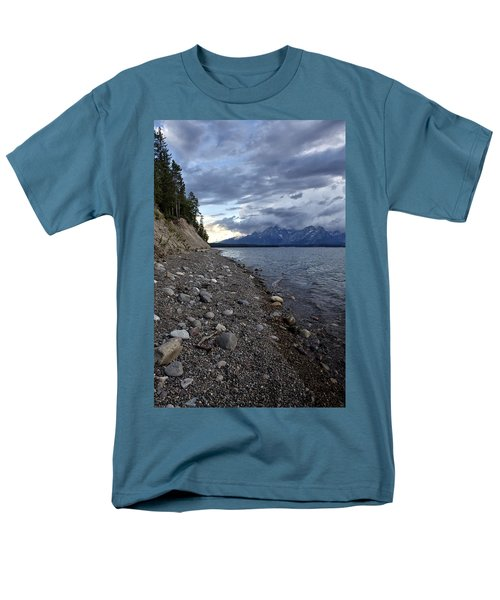 Men's T-Shirt  (Regular Fit) featuring the photograph Jackson Lake Shore With Grand Tetons by Belinda Greb