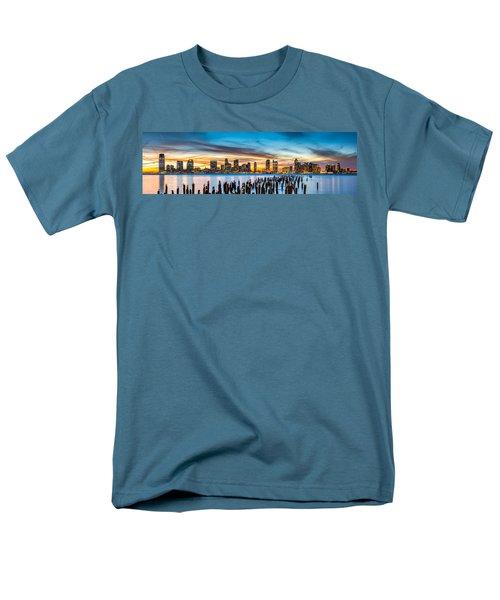 Jersey City Panorama At Sunset Men's T-Shirt  (Regular Fit) by Mihai Andritoiu