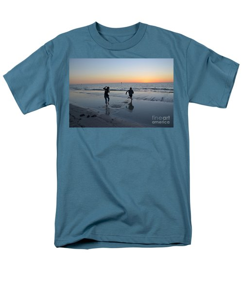 Men's T-Shirt  (Regular Fit) featuring the photograph Kids At The Beach by Robert Meanor