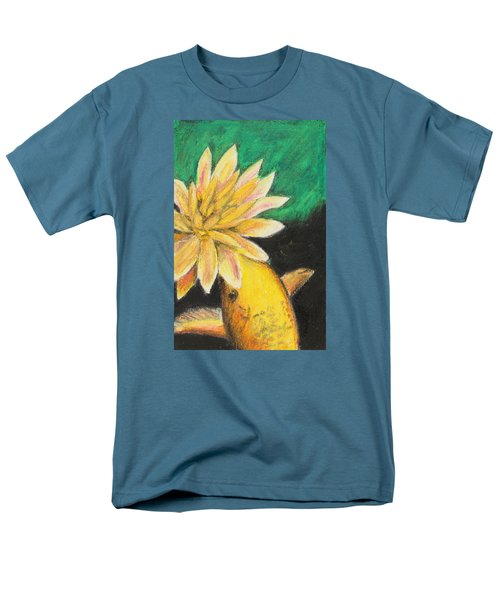 Men's T-Shirt  (Regular Fit) featuring the painting Koi And The Lotus Flower by Jeanne Fischer