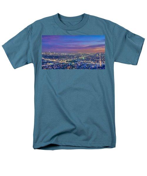 La Fiery Sunset Cityscape Skyline Men's T-Shirt  (Regular Fit) by David Zanzinger
