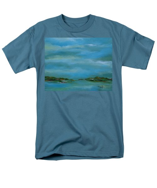Men's T-Shirt  (Regular Fit) featuring the painting Lake Wallenpaupack Early Morning by Judith Rhue