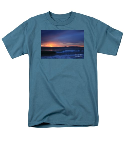 Men's T-Shirt  (Regular Fit) featuring the photograph Last Ray Of Sunlight At Pt Mugu With Wave by Ian Donley