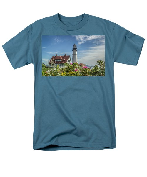 Men's T-Shirt  (Regular Fit) featuring the photograph Lighthouse And Wild Roses by Jane Luxton
