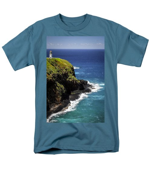Men's T-Shirt  (Regular Fit) featuring the photograph Lighthouse By The Pacific by Debbie Karnes
