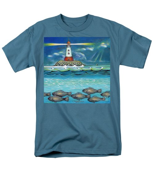 Men's T-Shirt  (Regular Fit) featuring the painting Lighthouse Fish 030414 by Selena Boron
