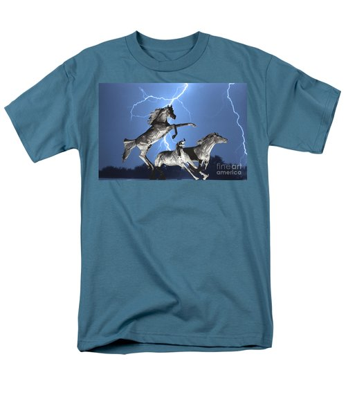 Lightning At Horse World Bw Color Print Men's T-Shirt  (Regular Fit) by James BO  Insogna