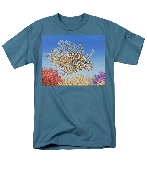 Men's T-Shirt  (Regular Fit) featuring the painting Lionfish And Coral by Jane Girardot