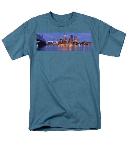 Louisville Skyline At Dusk Sunset Panorama Kentucky Men's T-Shirt  (Regular Fit) by Jon Holiday