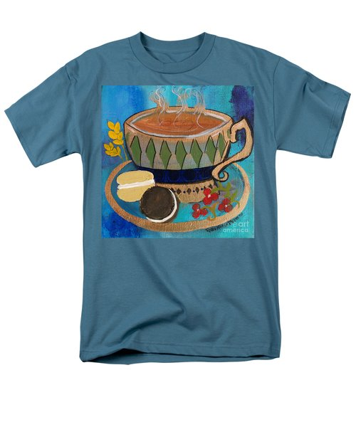Men's T-Shirt  (Regular Fit) featuring the painting Macaroons And Tea by Robin Maria Pedrero