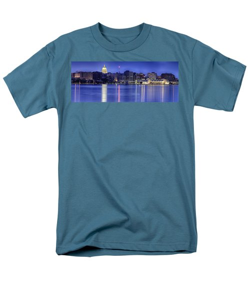Men's T-Shirt  (Regular Fit) featuring the photograph Madison Skyline Reflection by Sebastian Musial