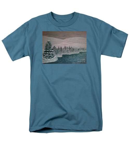 Men's T-Shirt  (Regular Fit) featuring the painting Michigan Winter by Jasna Gopic