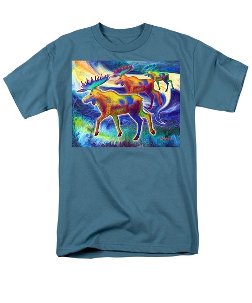 Men's T-Shirt  (Regular Fit) featuring the mixed media Moose Mystique by Teresa Ascone