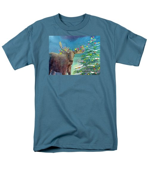 Men's T-Shirt  (Regular Fit) featuring the painting Moosey Christmas by LeAnne Sowa