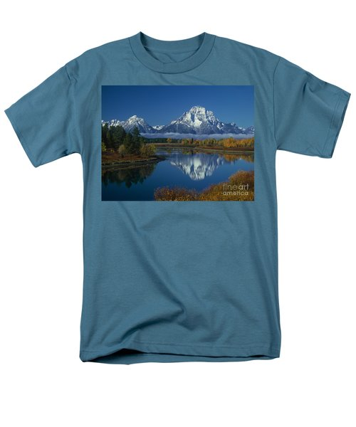 Morning Cloud Layer Oxbow Bend In Fall Grand Tetons National Park Wyoming Men's T-Shirt  (Regular Fit) by Dave Welling