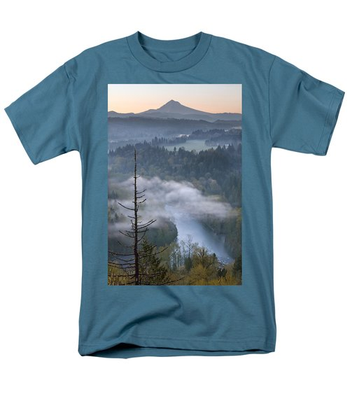 Men's T-Shirt  (Regular Fit) featuring the photograph Mount Hood And Sandy River At Sunrise by JPLDesigns