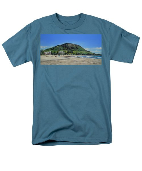 Men's T-Shirt  (Regular Fit) featuring the painting Mount Maunganui Beach 151209 by Sylvia Kula