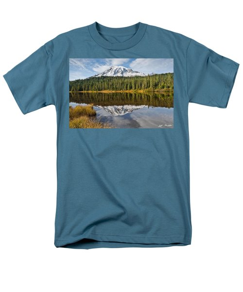 Men's T-Shirt  (Regular Fit) featuring the photograph Mount Rainier And Reflection Lakes In The Fall by Jeff Goulden