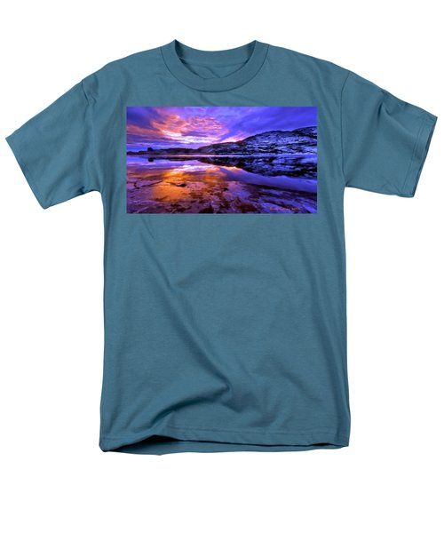 Men's T-Shirt  (Regular Fit) featuring the painting Mountain Lake Sunset by Bruce Nutting