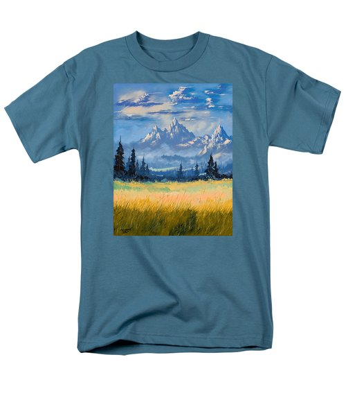 Men's T-Shirt  (Regular Fit) featuring the painting Mountain Valley by Richard Faulkner