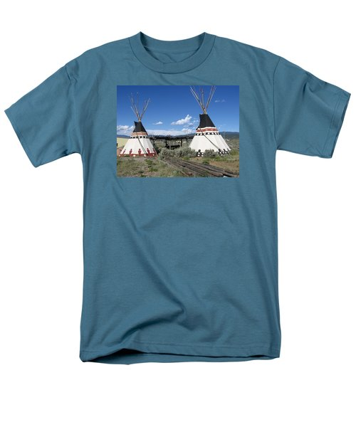 Men's T-Shirt  (Regular Fit) featuring the photograph Native American Teepees by Dora Sofia Caputo Photographic Art and Design