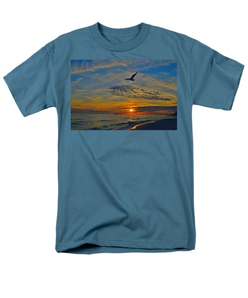 Men's T-Shirt  (Regular Fit) featuring the photograph Navarre Beach And Pier Sunset Colors With Gulls And Waves by Jeff at JSJ Photography