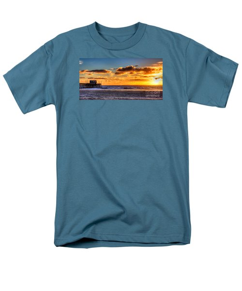Men's T-Shirt  (Regular Fit) featuring the photograph Newport Beach Pier - Sunset by Jim Carrell
