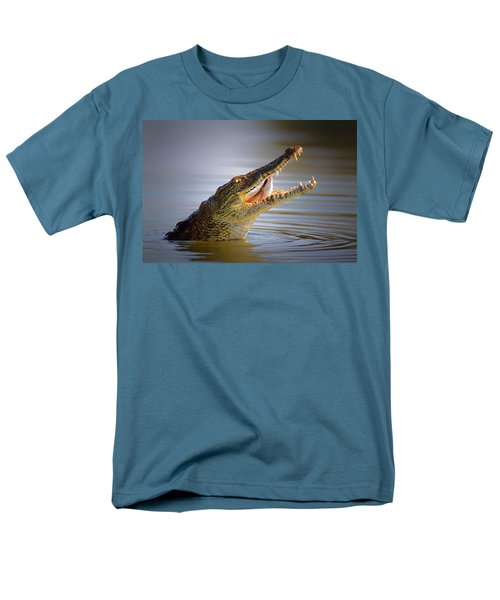Nile Crocodile Swollowing Fish Men's T-Shirt  (Regular Fit) by Johan Swanepoel