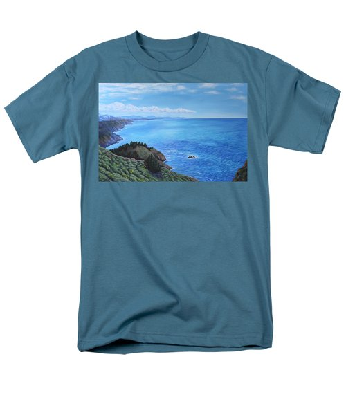 Men's T-Shirt  (Regular Fit) featuring the painting Northern California Coastline by Penny Birch-Williams