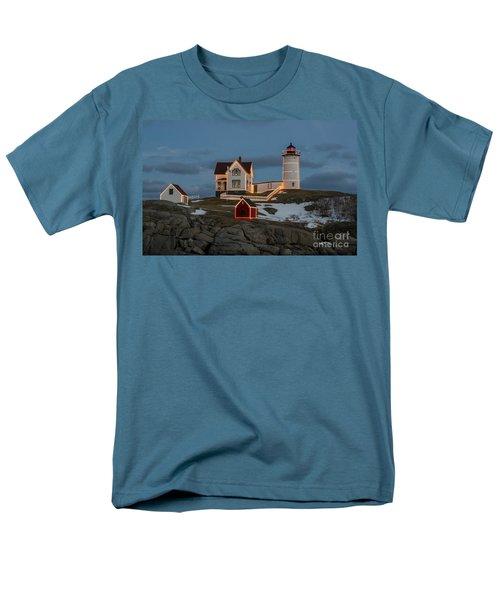 Nubble Lighthouse At Christmas Men's T-Shirt  (Regular Fit) by Steven Ralser