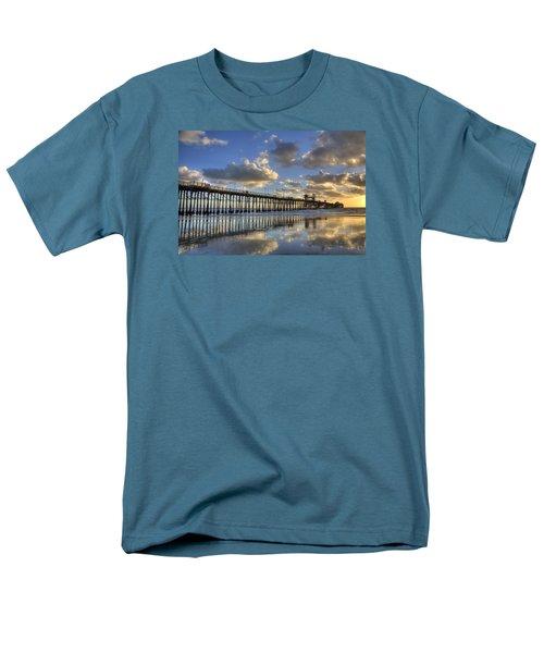 Oceanside Pier Sunset Reflection Men's T-Shirt  (Regular Fit) by Peter Tellone
