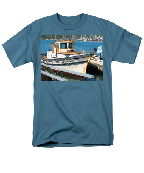 Men's T-Shirt  (Regular Fit) featuring the photograph Old Fishing Boat In Sausalito by Connie Fox