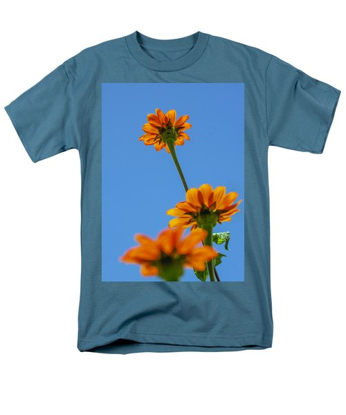 Men's T-Shirt  (Regular Fit) featuring the photograph Orange Flowers On Blue Sky by Debbie Karnes