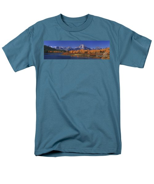 Men's T-Shirt  (Regular Fit) featuring the photograph Panorama Fall Morning Oxbow Bend Grand Tetons National Park Wyoming by Dave Welling