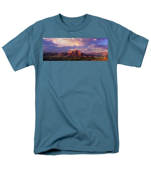Panorama West Temple At Sunset Zion Natonal Park Men's T-Shirt  (Regular Fit) by Dave Welling