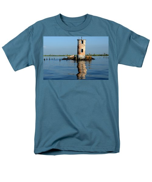 Pass Manchac Lighthouse Men's T-Shirt  (Regular Fit) by Charlotte Schafer
