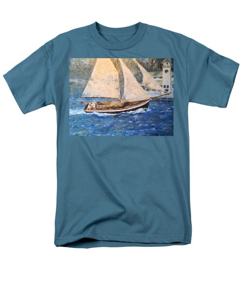 Men's T-Shirt  (Regular Fit) featuring the painting Patriot At Catalina Lighthouse by Alan Lakin