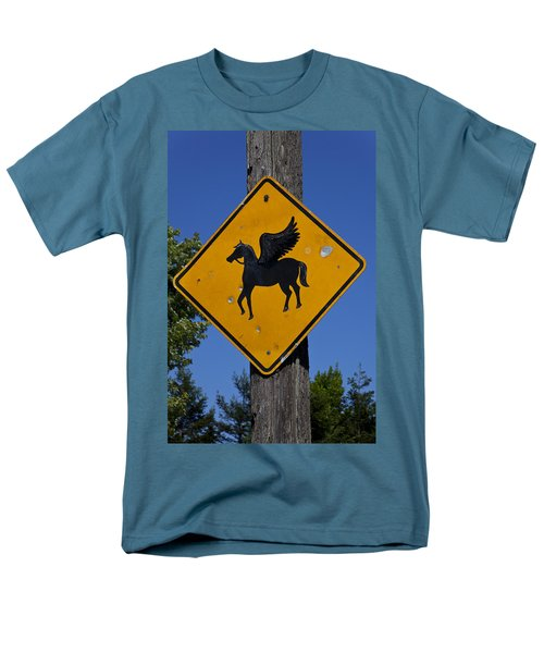 Pegasus Road Sign Men's T-Shirt  (Regular Fit) by Garry Gay