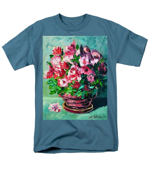 Men's T-Shirt  (Regular Fit) featuring the painting Pink Flowers by Ana Maria Edulescu