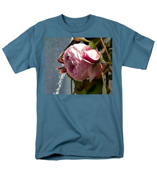Men's T-Shirt  (Regular Fit) featuring the photograph Pink Rose In Half Profile.2014 by Leif Sohlman