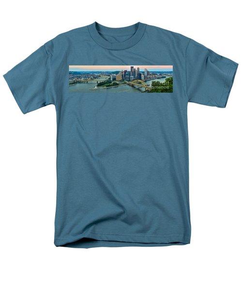 Pittsburgh Panorama At Dusk Men's T-Shirt  (Regular Fit) by Adam Jewell